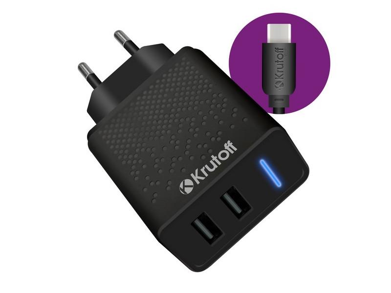 Зарядное устройство Krutoff CH-07C 2xUSB 2.4A + USB Type-C Black 03575