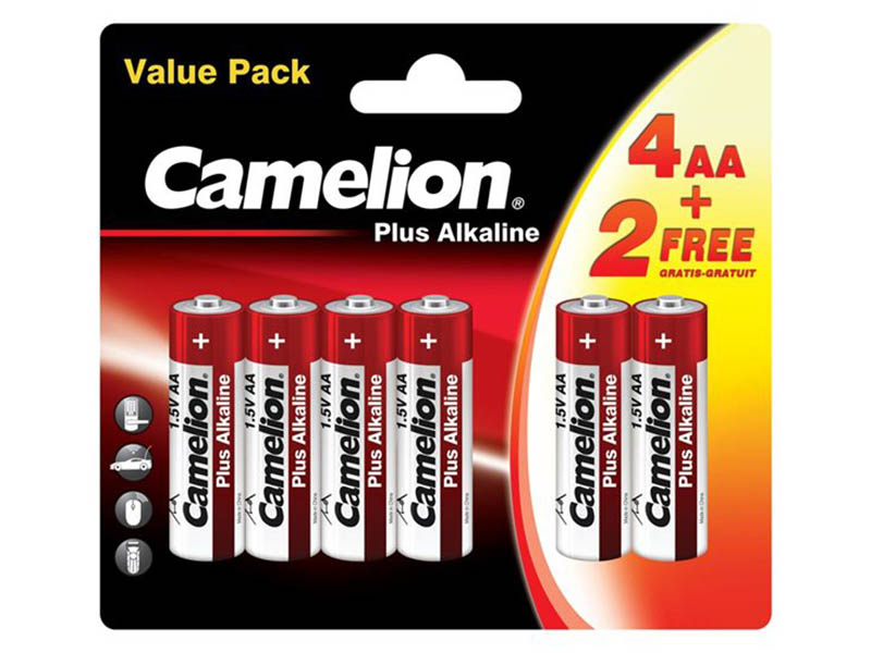 Батарейка AA - Camelion LR6 Plus Alkaline 4+2LR6-BP (4+2 штуки)