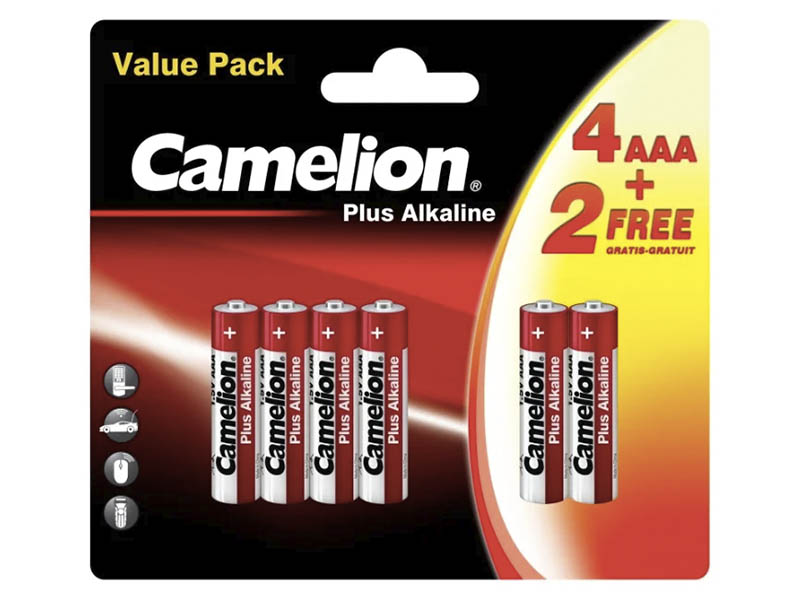 Батарейка AAA - Camelion LR03 Plus Alkaline 4+2LR03-BP (4+2 штуки)