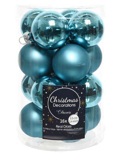 Набор шаров Kaemingk Делюкс мини 35mm 16шт Turquoise 010399/167248