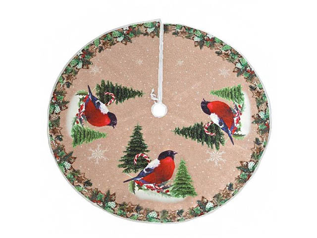 Юбка для декорирования ёлки Kaemingk Тёплая радость Снегири 110cm 611616/168633