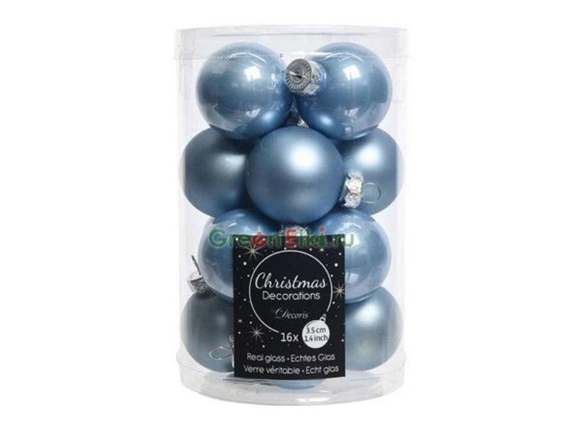 Набор шаров Kaemingk Делюкс мини 35mm 16шт Royal Blue 010710/171708