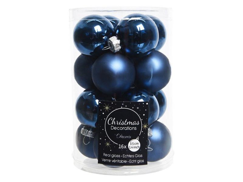 Набор шаров Kaemingk Делюкс мини 35mm 16шт Blue 010362/167185