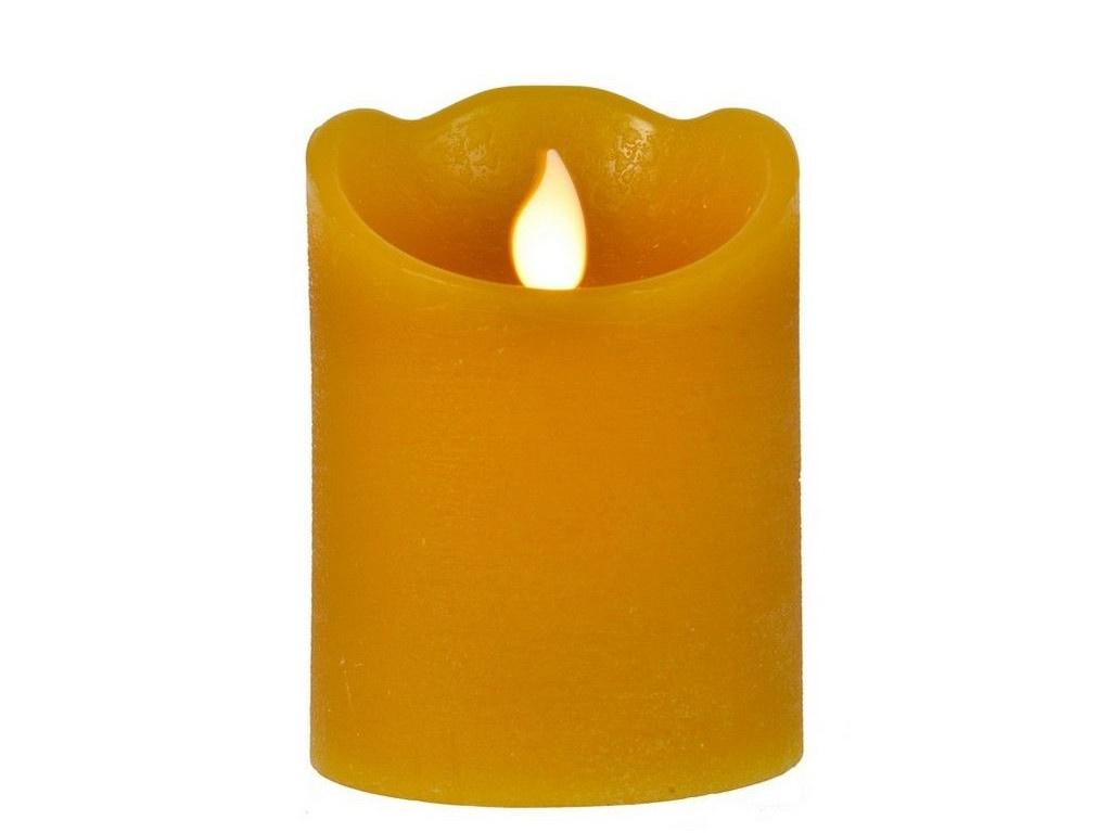 Светодиодная свеча Kaemingk Праздничная 7.5x12.5cm Mustard 165393