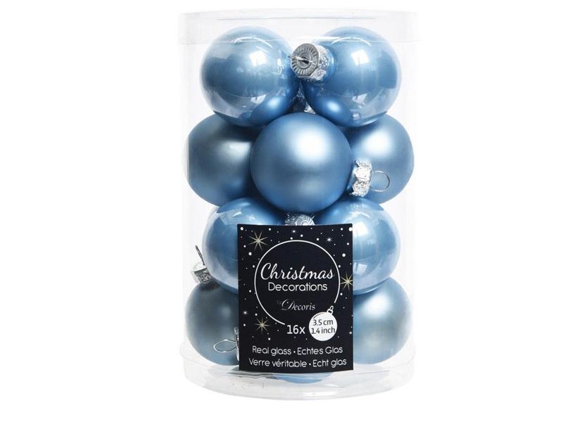 Набор шаров Kaemingk Делюкс мини 35mm 16шт Blue 010321