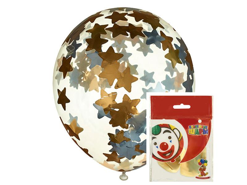 Набор воздушных шаров Пати Бум Звезды 30cm 2шт Gold-Silver 851373