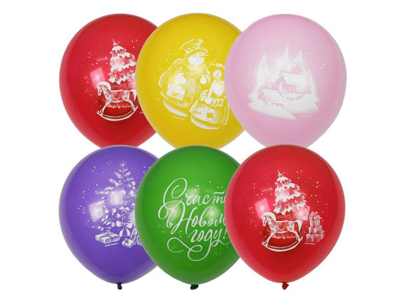 Набор воздушных шаров Пати Бум С Новым Годом 30cm 50шт 6058449