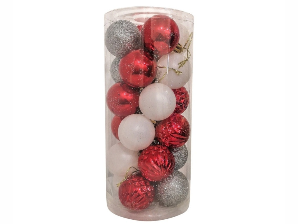 Набор шаров Hangzhou 4cm 24шт Red/Silver/White НБ-2441