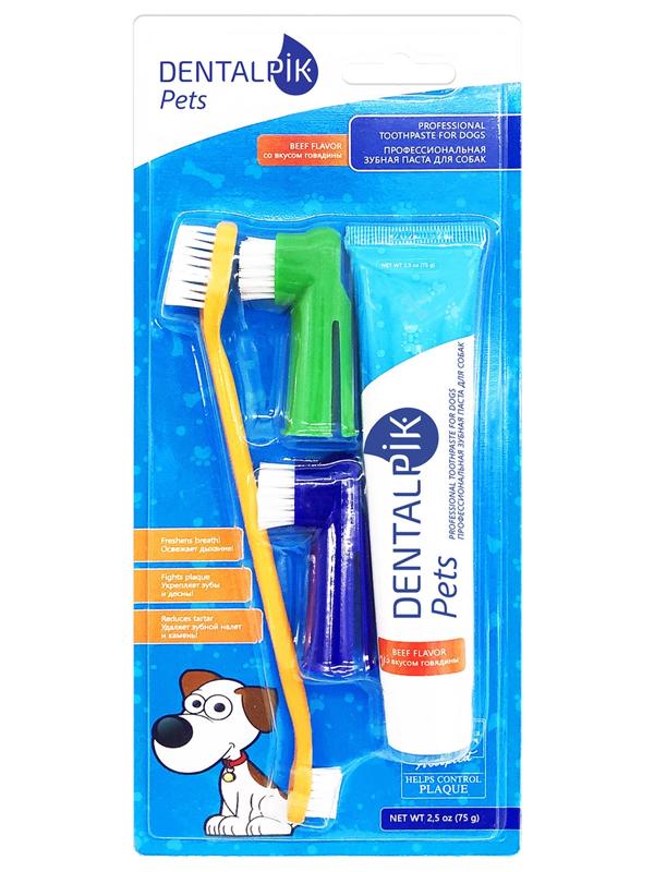 Зубная паста для собак Dentalpik Pets Говядина + 3 щетки 05.4473