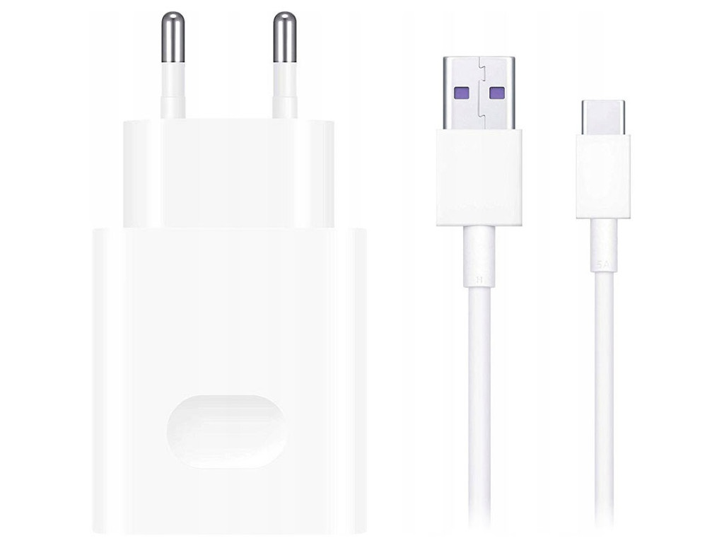 Зарядное устройство Huawei CP404 SuperCharge Wall Charger + Cable Type-C White 55033350