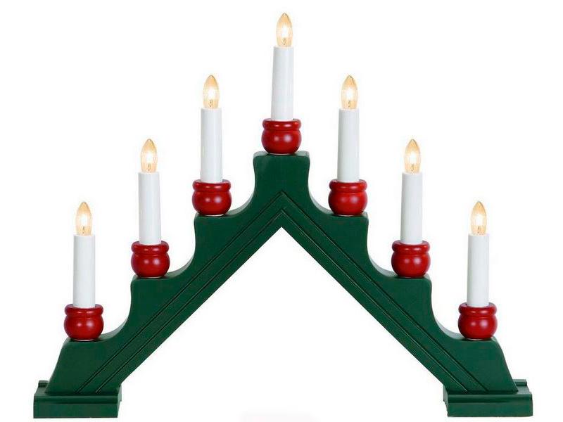 Светящееся украшение Star Trading Рождественская горка Karin 7 свечек Green 276-71