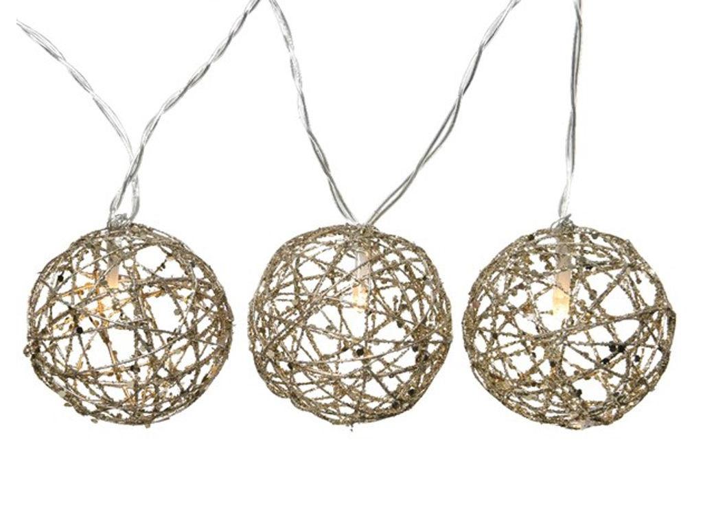 Гирлянда Kaemingk Шарики-плетёнки с блёстками 20 тёплых LED-огней 3.8+3m 480415/171923