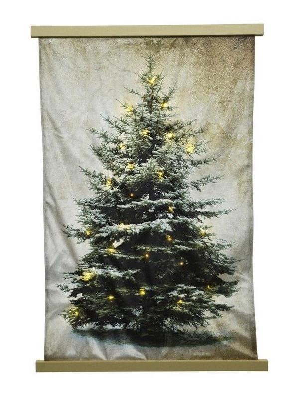 Светящееся украшение Kaemingk Гобелен Уютная елка 24 тёплых LED-огня 55x82cm 483615/165303