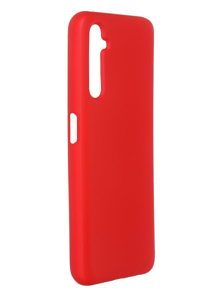 Чехол DF для Realme 6 Pro с микрофиброй Silicone Red rmOriginal-02