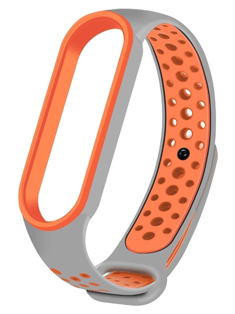 Aксессуар Ремешок Activ для Xiaomi Mi Band 5 Sport N Silicone Grey-Orange 117548