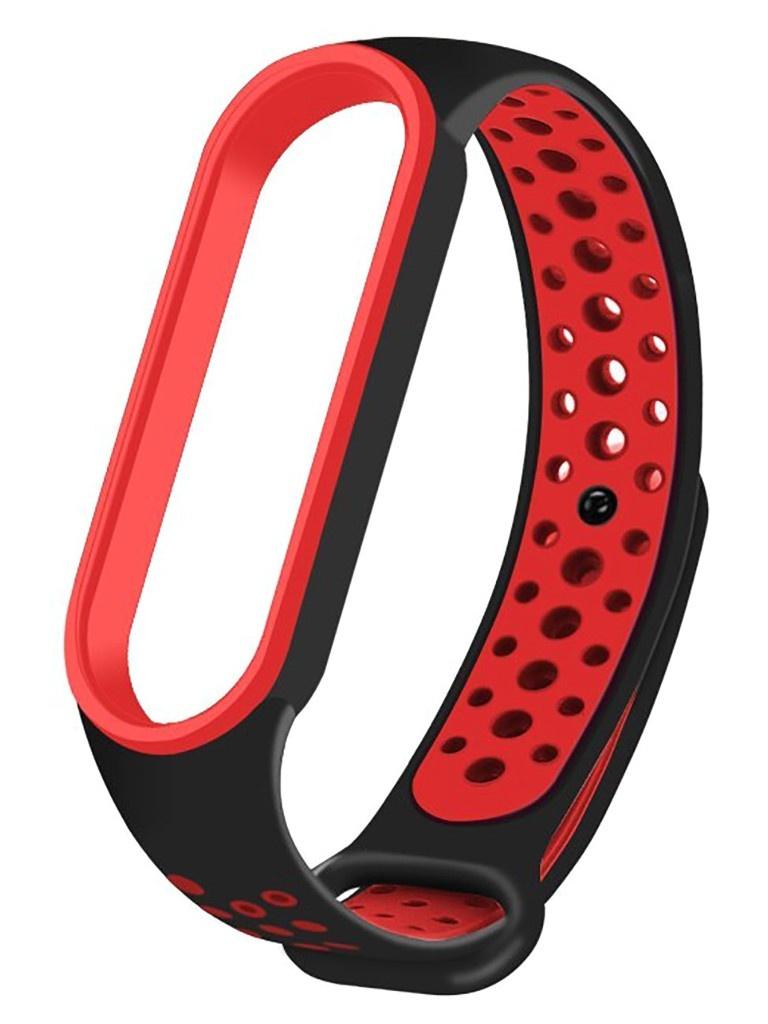 Aксессуар Ремешок Activ для Xiaomi Mi Band 5 Sport N Silicone Black-Red 117546