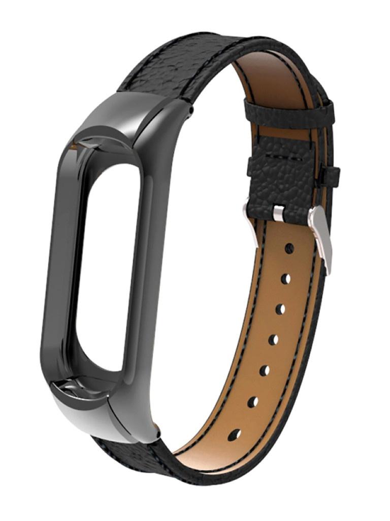 Aксессуар Ремешок Activ для Xiaomi Mi Band 5 Leather Black 117550