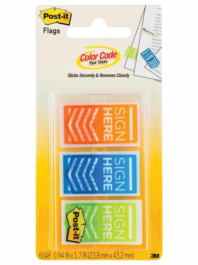 Закладки клейкие 3M Post-IT Поставьте Вашу подпись 60шт 3 цвета 682-SH-OBL