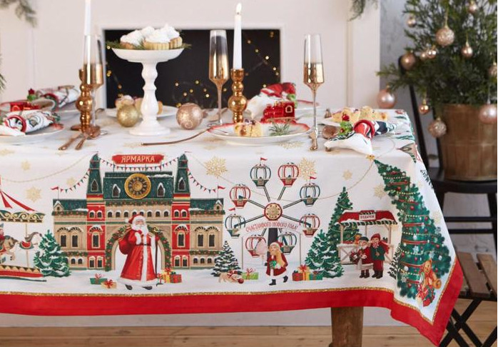 Набор столовый Этель Новогодняя ярмарка - скатерть 150x185cm с ГМВО / салфетки 40x40cm 8шт 5072925