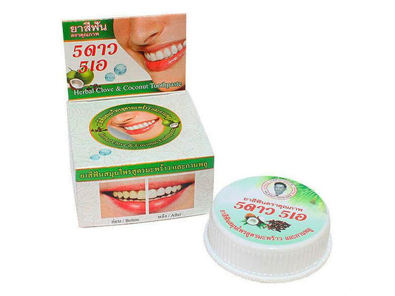 Зубная паста 5 Star Nokthai Травяная отбеливающая с кокосом 25g 292803