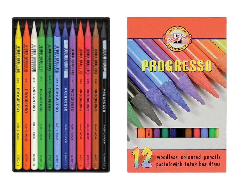 Карандаши цветные Koh-i-Noor Progresso 12 цветов 8756012007PZ карандаши цветные koh i noor кохинор animal животные набор 18 цветов