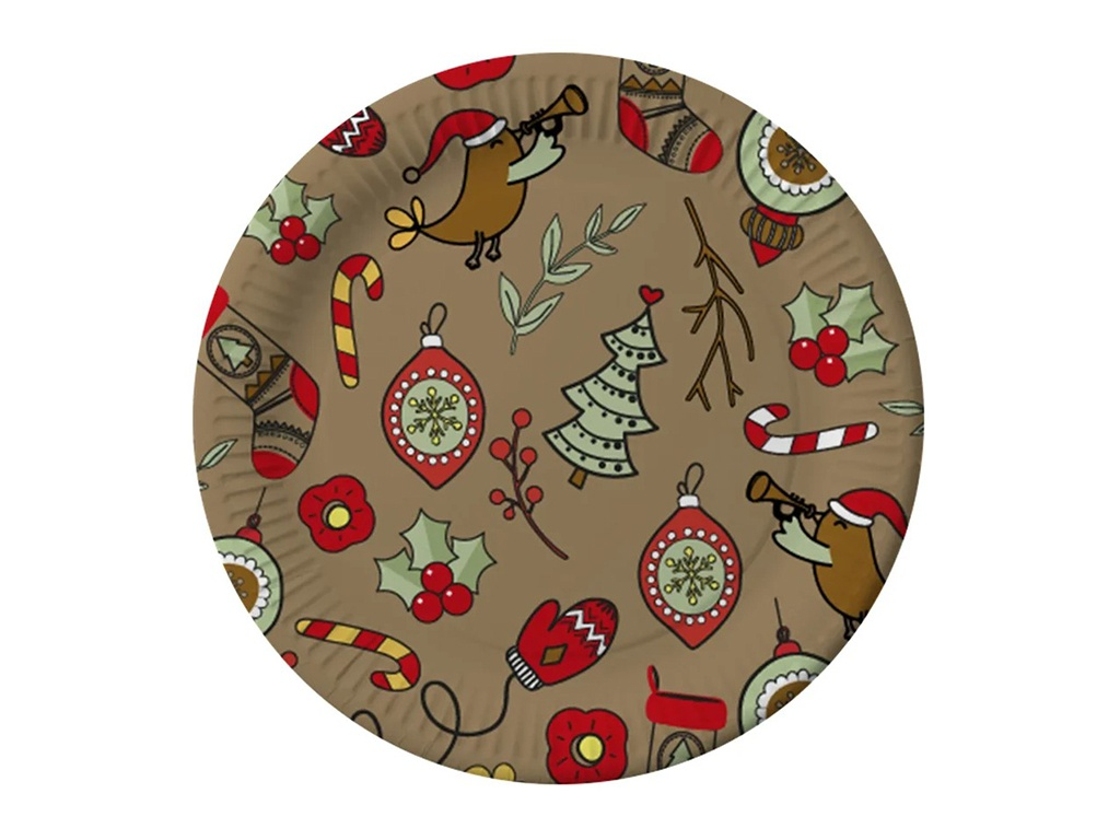 Тарелки бумажные Gratias Merry Christmas 230mm 6шт 4095168
