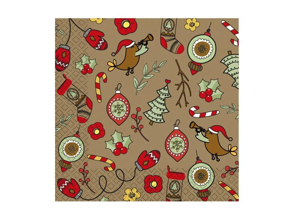 Салфетки бумажные Gratias Merry Christmas 3-слойные 33cm 20шт 4095142