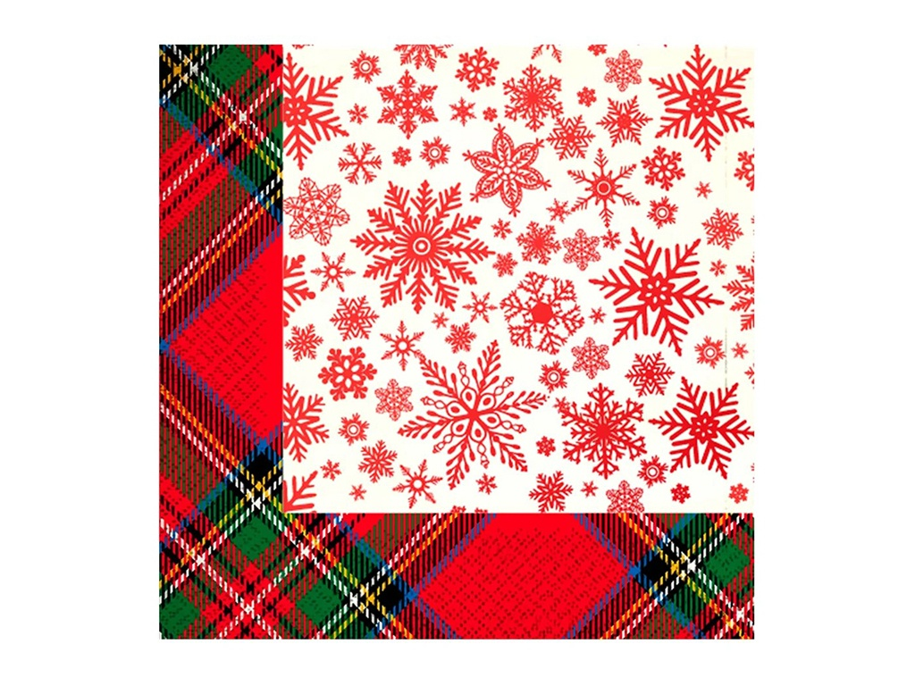 Салфетки бумажные Gratias Снежная шотландка 3-слойные 33cm 20шт 4095150