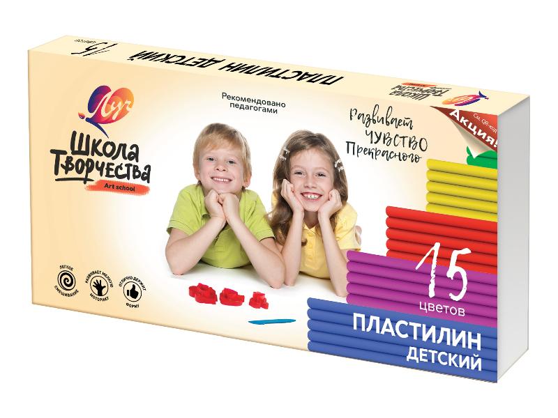 Набор для лепки Луч Пластилин Школа творчества 15 цветов 300g 29С 1764-08