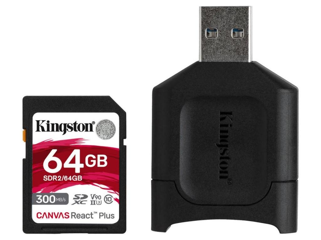 Фото - Карта памяти 64Gb - Kingston Canvas React Plus Secure Digital XC UHS-II Class U3 V90 MLPR2/64GB карта памяти sdxc kingston canvas react plus 256 гб uhs ii class u3 v90 с usb ридером