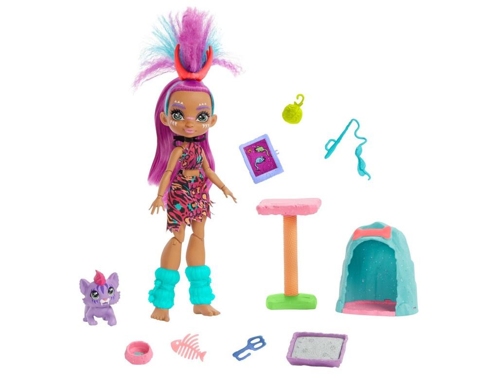 Кукла Mattel Cave Club Роралай с саблезубым котенком GNL95