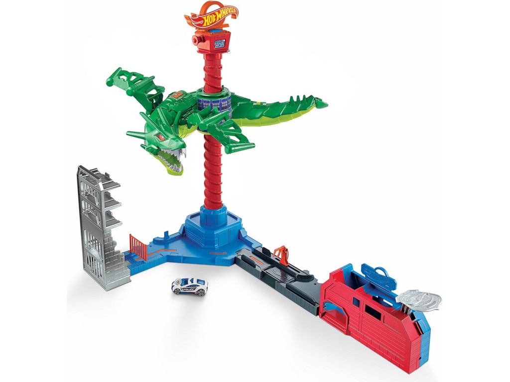 Автотрек Mattel Hot Wheels Воздушная атака дракона-робота GJL13