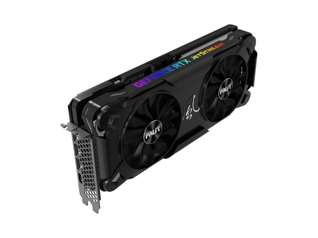 Видеокарта Palit GeForce RTX 3070 JetStream OC 8G 1500Mhz PCI-E 4.0 8192Mb 14000Mhz 256 bit HDMI 3xDP NE63070T19P2-1040J
