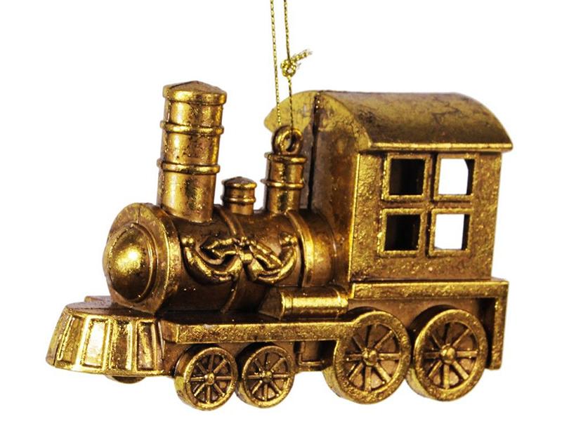 Ёлочная игрушка Hogewoning Паровозик, Золотая коллекция 12x5x8cm 400467-070