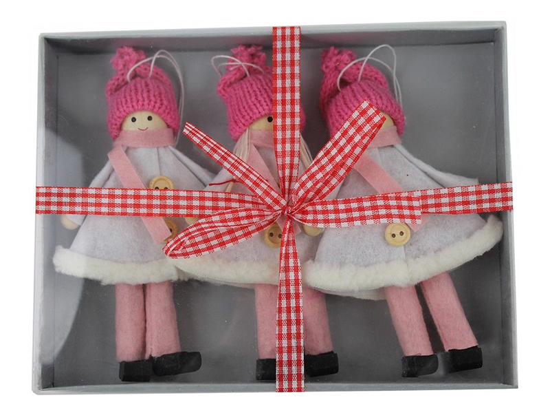 Набор ёлочных игрушек Hogewoning Подружки-хохотушки 17x13cm 3шт Pink 260361-016