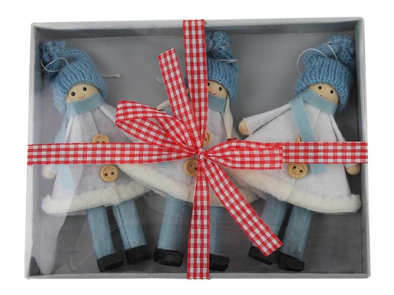 Набор ёлочных игрушек Hogewoning Подружки-хохотушки 17x13cm 3шт Light Blue 260361-050