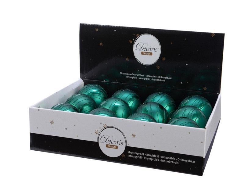 Набор шаров Kaemingk Искристый вихрь 80mm 12шт Emerald 025672/161602