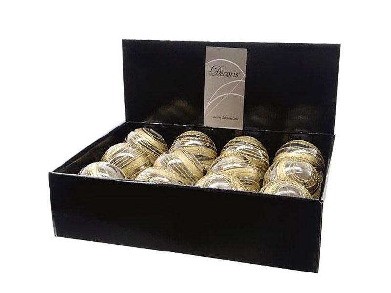 Набор шаров Kaemingk Искристый вихрь 80mm 12шт Transparent Gold 025613/156023