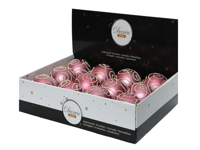 Набор шаров Kaemingk Свирл 80mm 12шт Pink Velvet 025859/165962