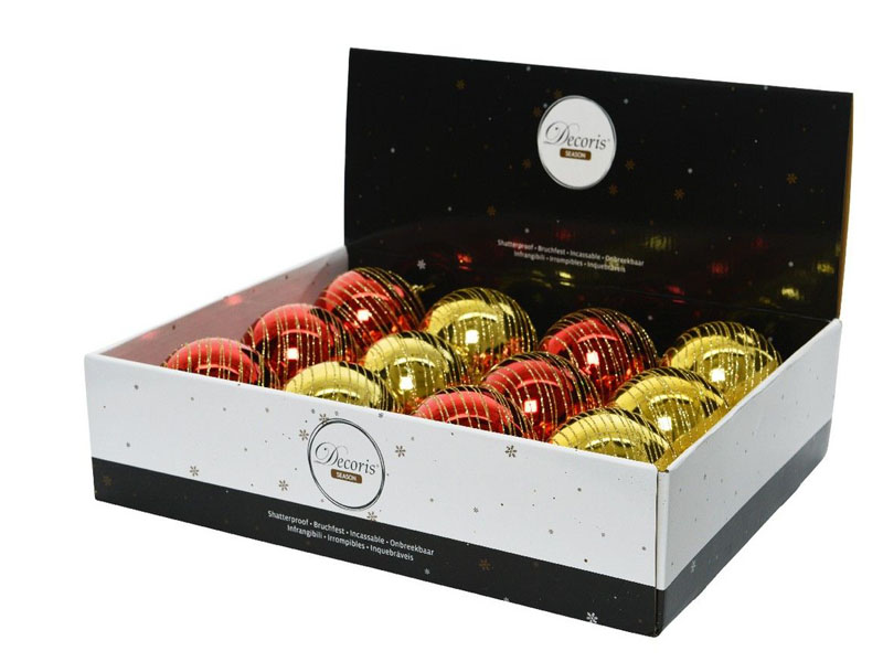 Набор шаров Kaemingk Кружение золотых нитей 100mm 12шт Red-Gold 025903/165963