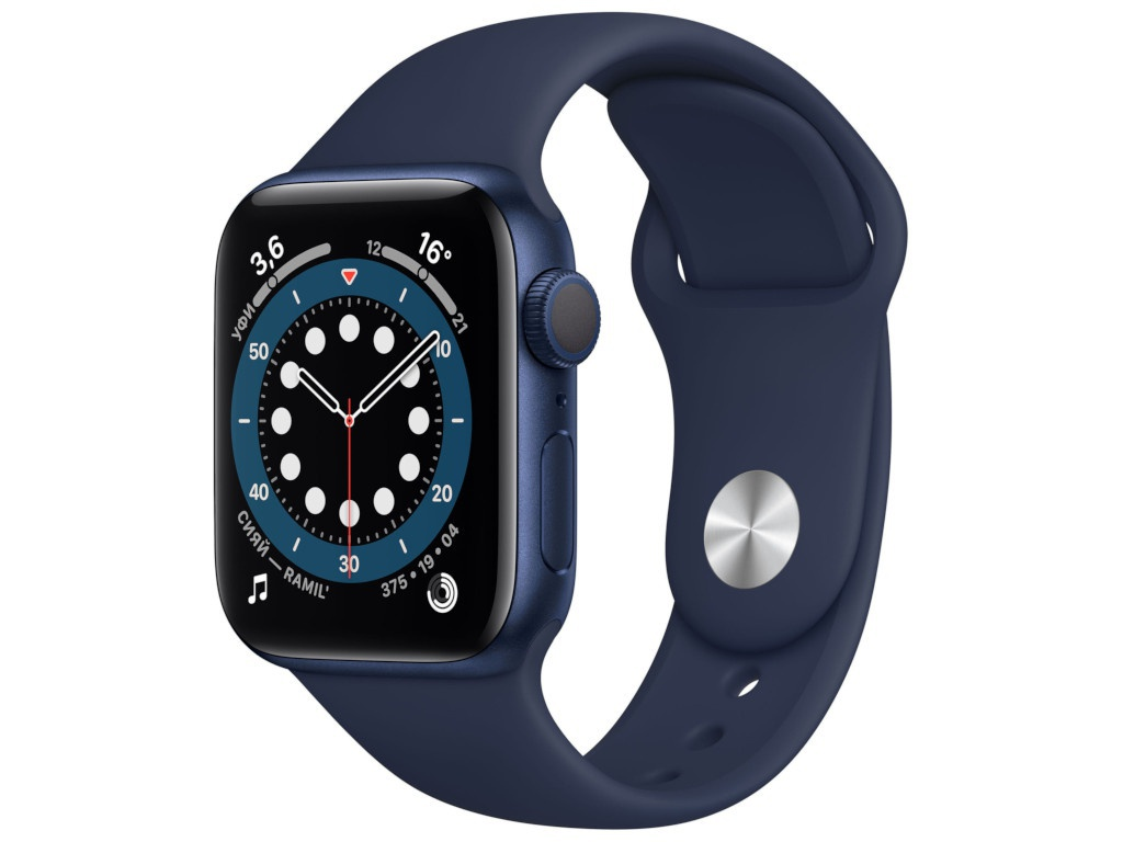 Умные часы APPLE Watch Series 6 40mm Blue Aluminium Case with Deep Navy Sport Band MG143RU/A Выгодный набор + серт. 200Р!!!