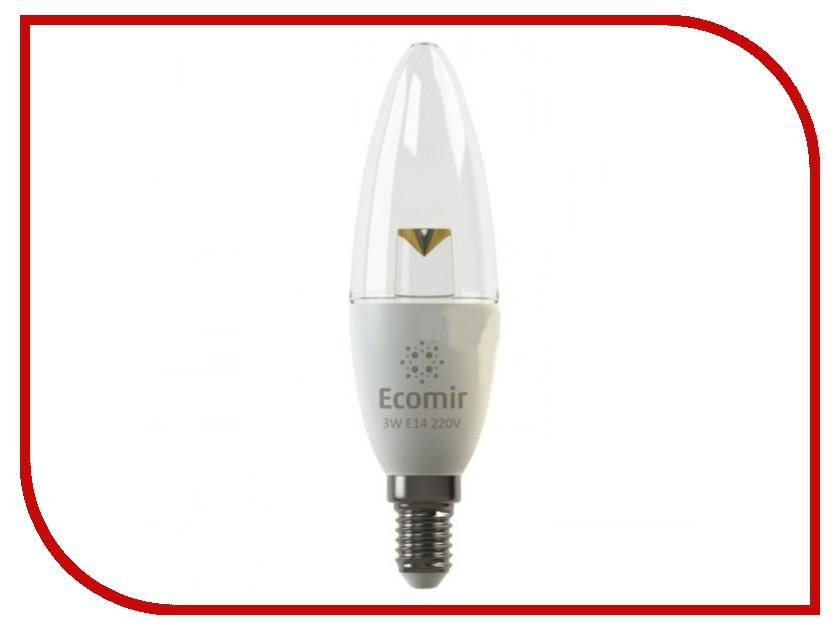 Лампочка Ecomir E14 3W 3000K 220V прозрачная, желтый свет, экв. 30W 42883 70ktyz ac 220v 110v 0 19a 30w 8mm shaft diameter synchronous gear motor 30rpm 35rpm 40rpm 70rpm
