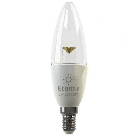 Лампочка Ecomir E14 3W 3000K 220V 285Lm прозрачная, желтый свет, экв. 30W 42883