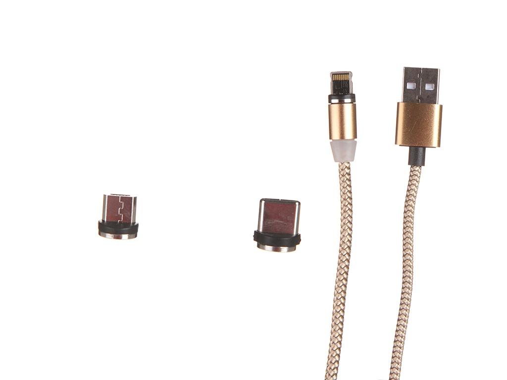Аксессуар Red Line USB -Type-C / Lightning / MicroUSB Gold УТ000023352 аксессуар red line usb usb type c white ут000021772