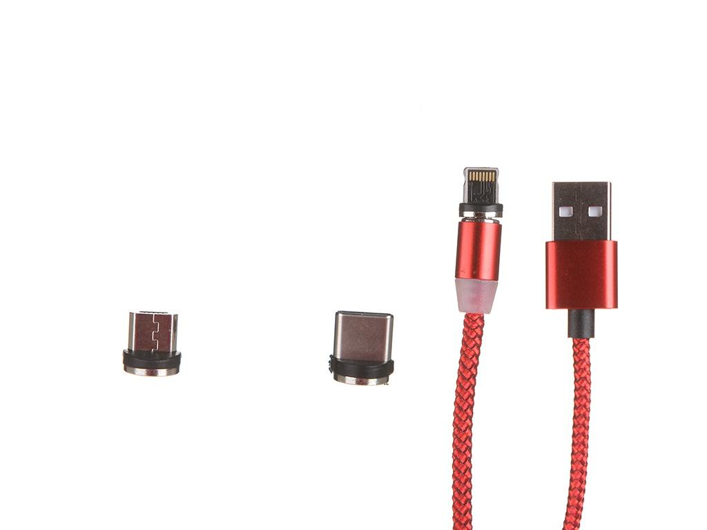 Аксессуар Red Line USB -Type-C / Lightning / MicroUSB Red УТ000023353 аксессуар red line usb usb type c white ут000021772