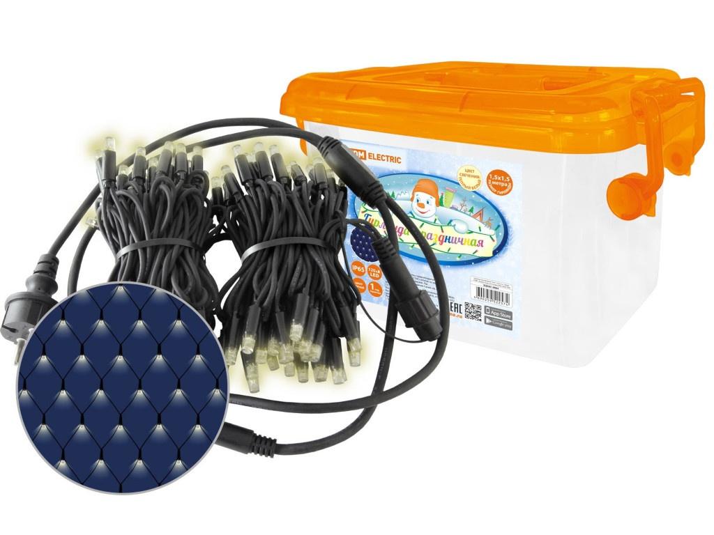 Гирлянда TDM-Electric Сеть 120 LED 2700К 250V IP65 1.5x1.5m SQ0361-0063
