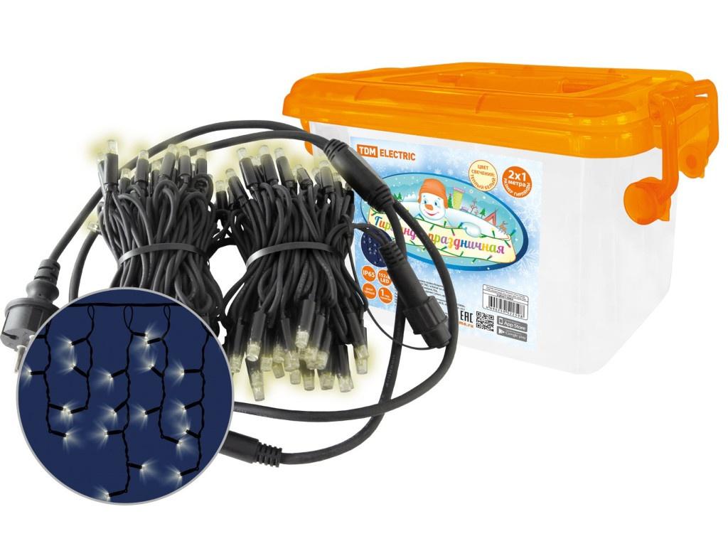 Гирлянда TDM-Electric Бахрома 152 LED 2700К 250V IP65 2x1m SQ0361-0064