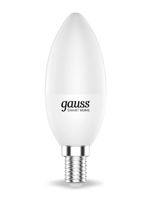 Лампочка Gauss Smart Home DIM+CCT E14 C37 5W 2700-6500K 470Lm 1110112 лампочка gauss elementary gu5 3 mr16 5 5w 470lm 6500k 13536
