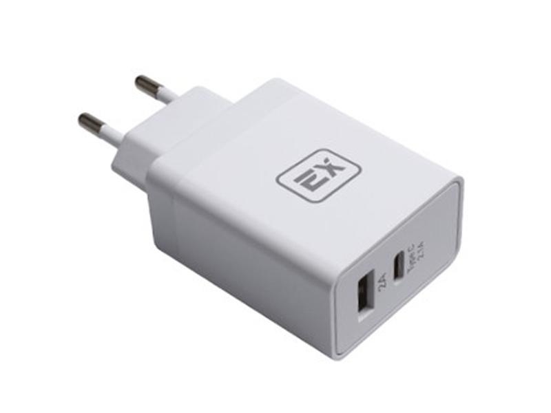 Зарядное устройство Exployd Sonder 1xUSB 1xType-C 4.1A White EX-Z-439