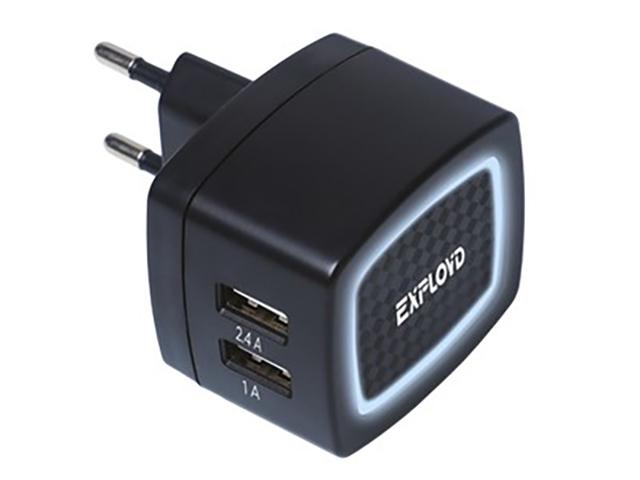 Зарядное устройство Exployd Sonder 2xUSB 3.4A Black EX-Z-768